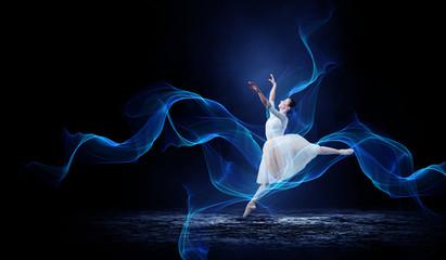 Ballet dancer in jump . Mixed media