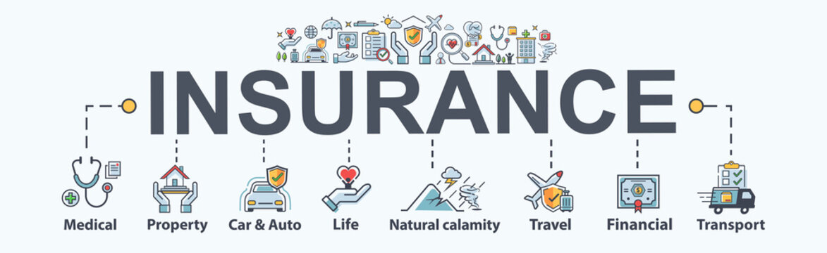 Insurance banner web icon for business Insurance, medical, property, protect, family life, Natural calamity, travel, transport and financial. Minimal vector infographic.