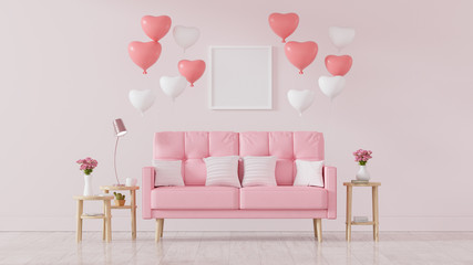 Pink sofa decorated with heart balloons, valentines day, Vintage Style, 3d render - Illustration