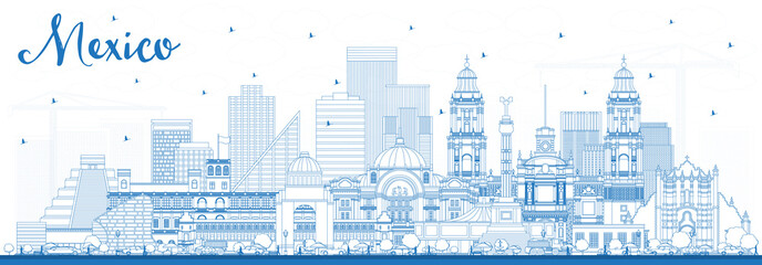 Wall Mural - Outline Mexico City Skyline with Blue Buildings.