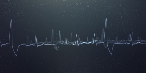 Heart with cardiogram -2D illustration