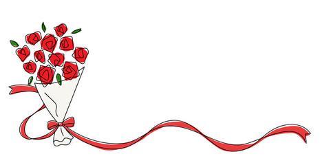 リボンとバラの花束