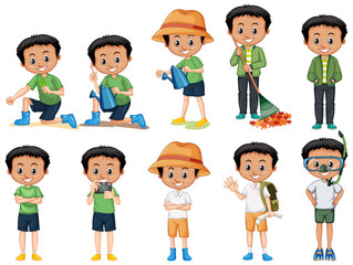 Boy with black hair doing different activities on white background