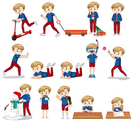Set of cute boy in blue shirt doing different activities