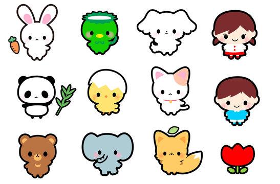 可愛い動物うさぎパンダくま猫犬きつねひよこゾウカッパ子供アイコン・幼稚園・保育園・名札用