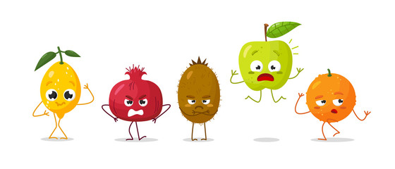 Vector set of cartoon images of intimidated funny fruits on a white background. Emotions, emoji, character.