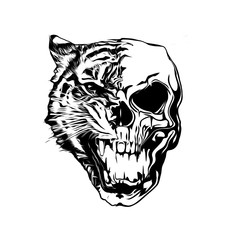 skull with tiger isolated on white background pop art