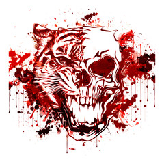 Colored skull with tiger isolated on white background pop art