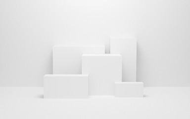 Obraz abstract white light on wall background texture with geometric shape. 3d render design for display product on website. Mockup with gray podium scene concept. Empty showcase for advertising and banner. - fototapety do salonu