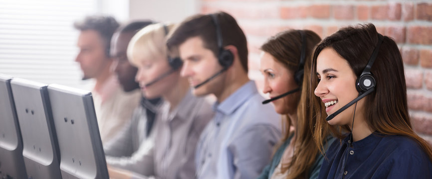 Female Customer Services Agent In Call Center