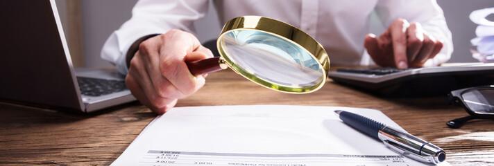 Businessperson Analyzing Bill