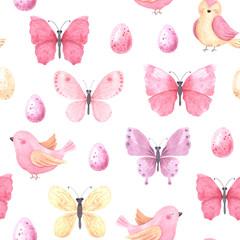 Watercolor butterflies and birds seamless pattern