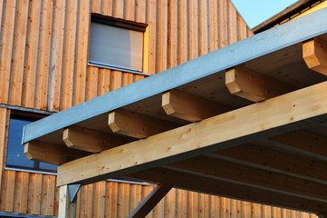 Fototapeta beams of a carport constructed with wood obraz