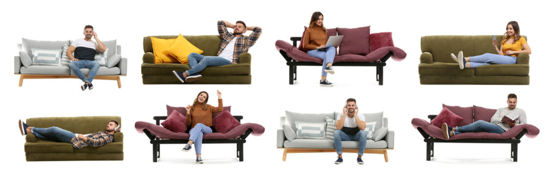 Collage with young people resting on sofas against white background