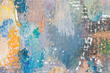 Abstract art background. Original oil painting on canvas. Fragment of artwork. Brushstrokes of...