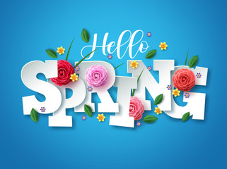 Hello spring vector greetings design. Spring text with colorful flower elements like camellia, daffodils, crocus and green leaves in blue background for spring season. Vector illustration.