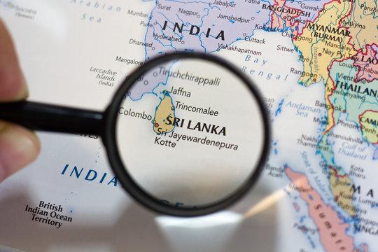 Sri Lanka on the map of the world.