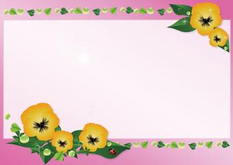 パンジーとてんとうむしのイラスト春らしいピンクの背景素材