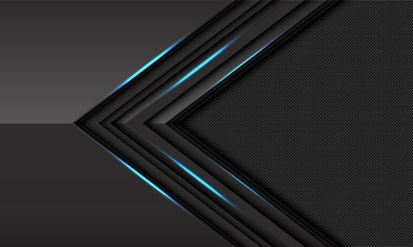 Abstract dark grey blue light metallic arrow direction with circle mesh pattern blank space design modern luxury futuristic technology background vector illustration.