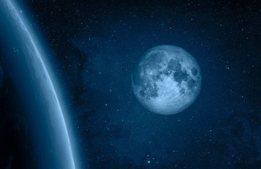 Wall Mural - Blue Moon and Earth from outer space with millions of stars around it.