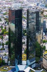 Aerial view of the Deutsche Bank Headquarters in Frankfurt, Germany on September 17, 2019