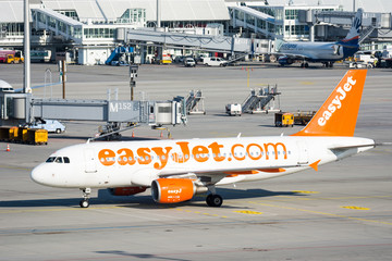 Planes in parking position at the the airport of Munich, Germany on April 9, 2017