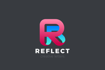 Letter R Logo design vector template Ribbon Font style Typography.