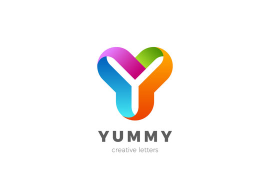 Letter Y Logo design vector template Ribbon Font style Typography.