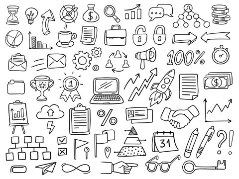 Big set of business icons in doodle style. Vector Illustration can be used in education, bank, It, SaaS, finance, marketing and other business areas.