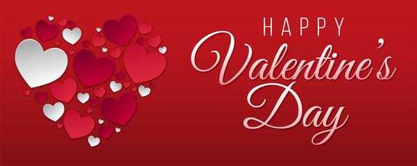 bandeau ou carte  happy Valentine's day avec coeur rouge et blanc sur fond rouge en dégradé
