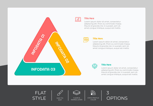 3 options of flat infographic vector design with colorful concept for marketing. Process infographic can be used for presentation and business.