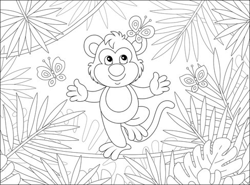 Funny cheerful monkey balancing on a long liana and playing with small butterflies among palm branches in a tropical jungle, black and white vector cartoon illustration