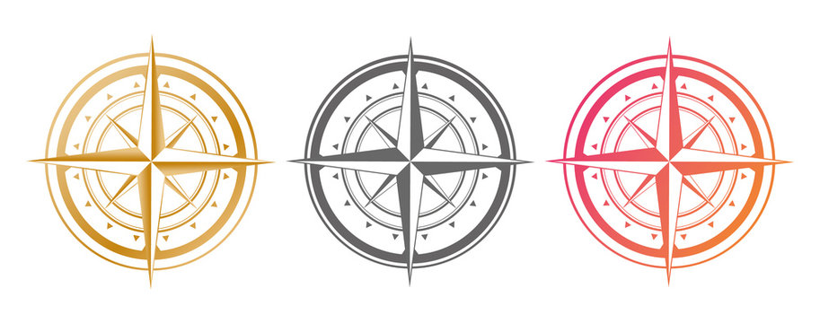 Set compass icon isolated on a white background. Travel symbol