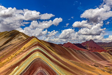 Poster Peru, Cusco Region. Vinicunca, also called Montana de Siete Colores (Rainbow Mountain)