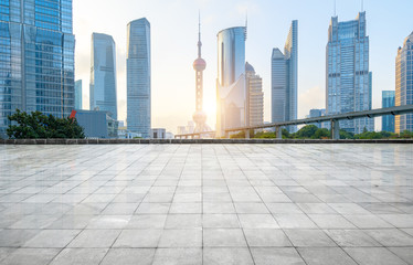 Foto op Textielframe Shanghai Panoramic skyline and buildings with empty concrete square floor,shanghai,china