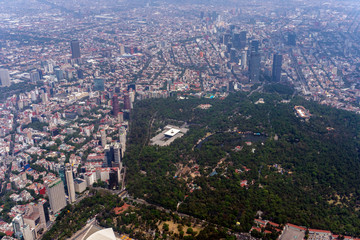 mexico city park and town aerial view panorama