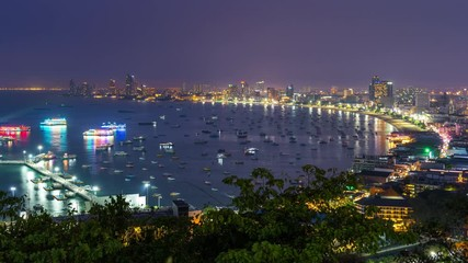 Fototapete - Time lapse of Pattaya city at night, Thailand.