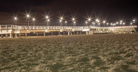 Molo w Brzeźnie w zimowy wieczór