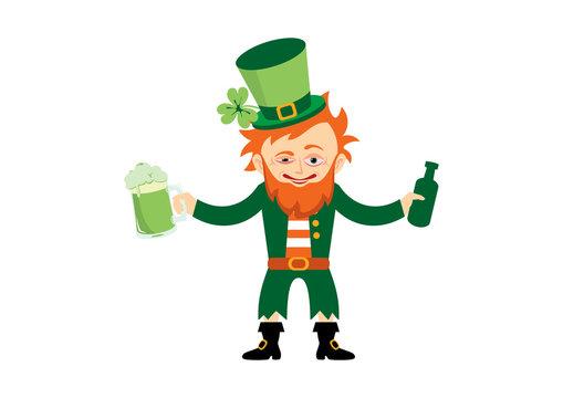 Drunk leprechaun cartoon character. Saint Patrick's Day with drunken leprechaun vector. Funny leprechaun with beer vector