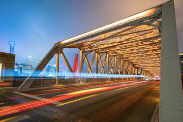 Fotomurales - The track of the car on the iron bridge, baiduqiao, Shanghai, China