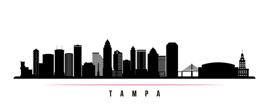 Tampa skyline horizontal banner. Black and white silhouette of Tampa, Florida. Vector template for your design.