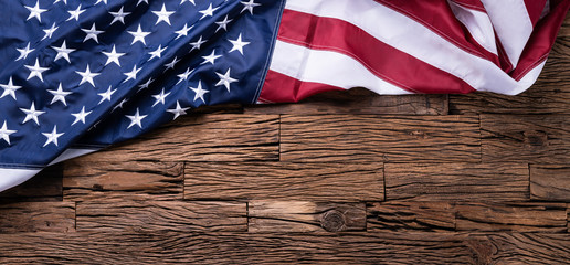 American Flag On Wooden Background Fotomurales