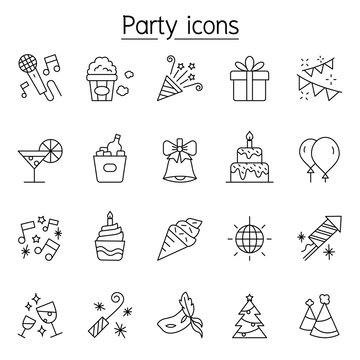 Party icons set in thin line style