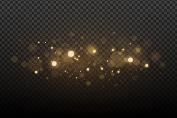Wall Mural - Abstract magical stylish light effect with golden glares bokeh on a transparent background. Christmas glow. Glowing flying dust. Vector illustration