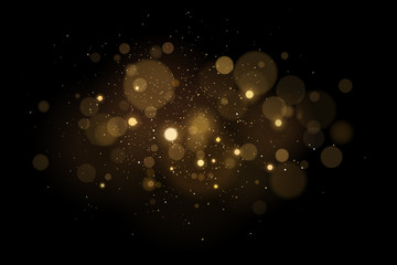 Wall Mural - Abstract magical light effect with golden glares bokeh on a black background. Christmas lights. Glowing flying dust. Vector illustration