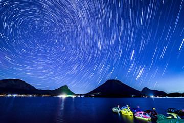 榛名湖畔の星景写真