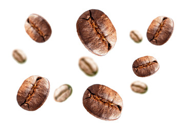 Coffee beans 3d image on white