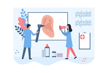 Doctor otolaryngologist with an otoscope and assistant with a megaphone. Listening, hearing testing, treatment of ear diseases, structure. Inspection tool, sound wave. Flat vector illustration