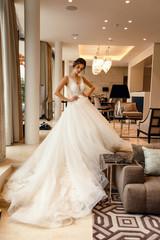 beautiful bride with dark hair in elegant wedding dress posing in luxurious interior