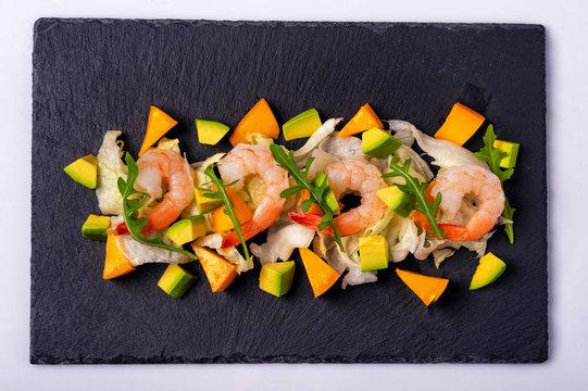shrimp salad avocado mango and arugula2